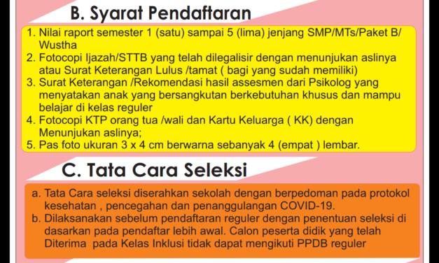 Informasi Penerimaan Peserta Didik Baru/PPDB Kelas Inklusi