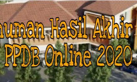 Pengumuman Hasil Akhir Seleksi PPDB Online 2020