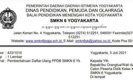 Pemberitahuan Daftar Ulang PPDB SMKN 6 Yogyakarta